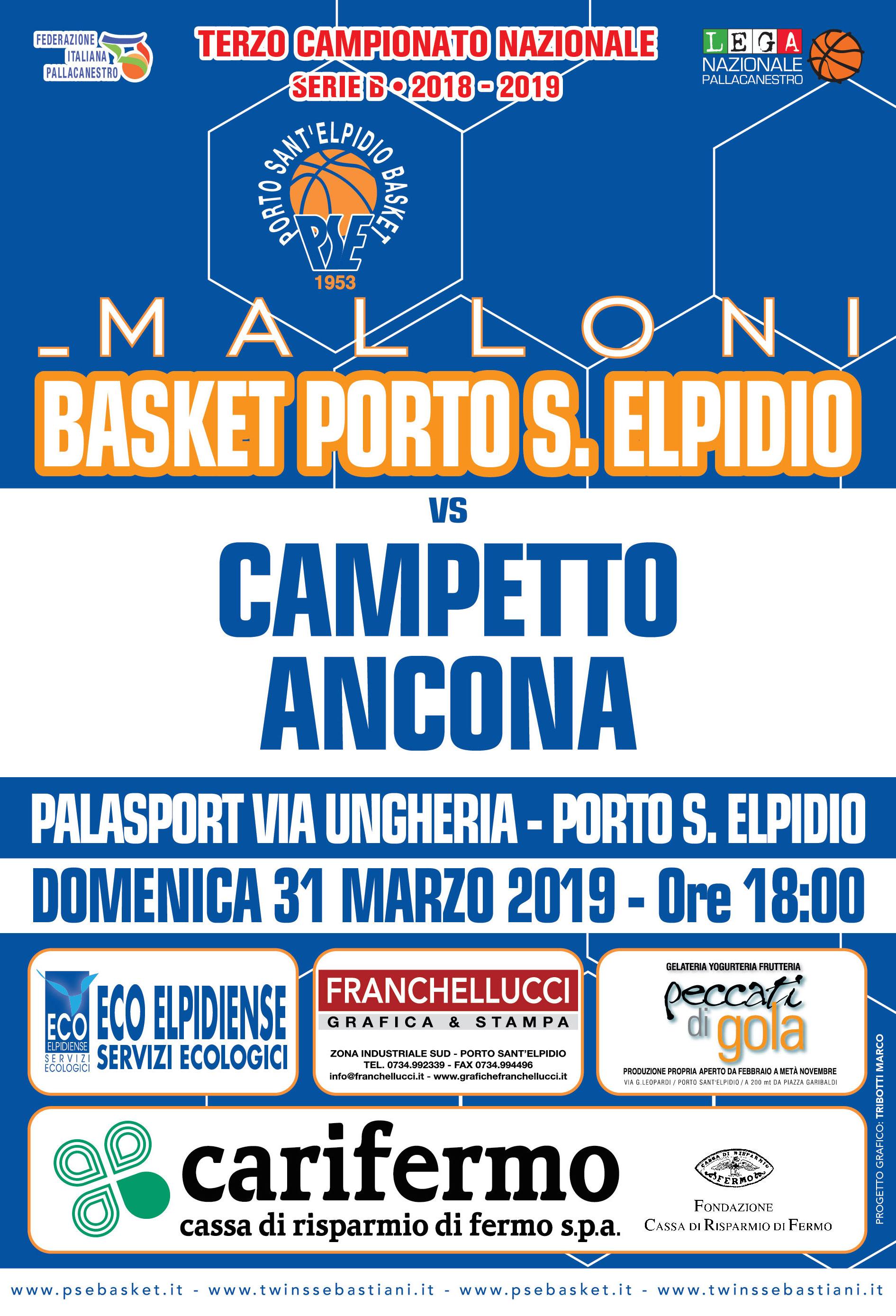 Derby Malloni P.S.Elpidio - Campetto Ancona: le disposizioni d'ingresso al Palas