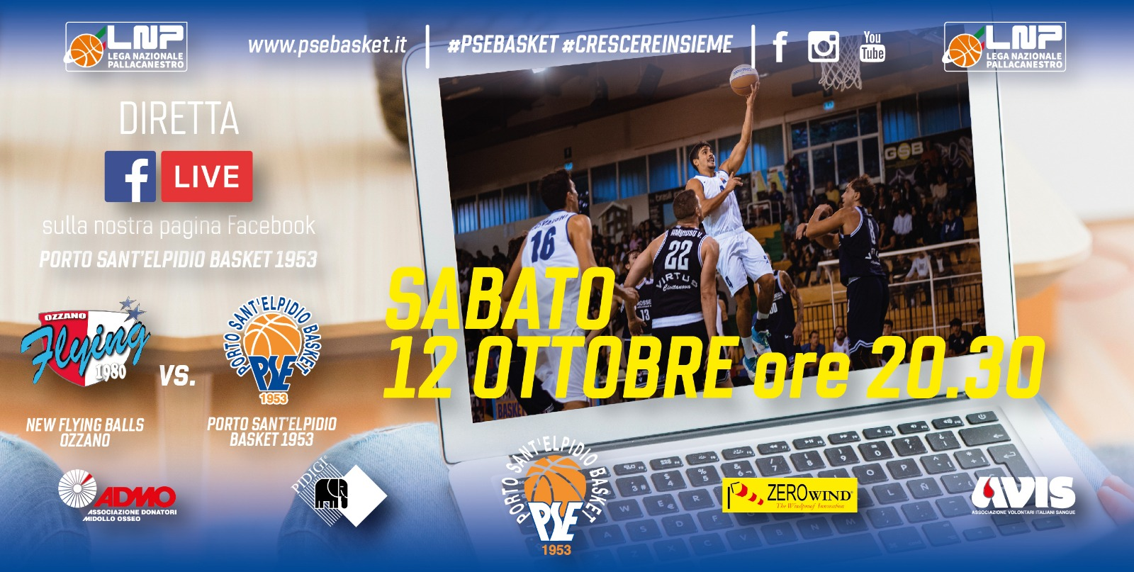 Ozzano-P.S.Elpidio Basket in diretta su Facebook