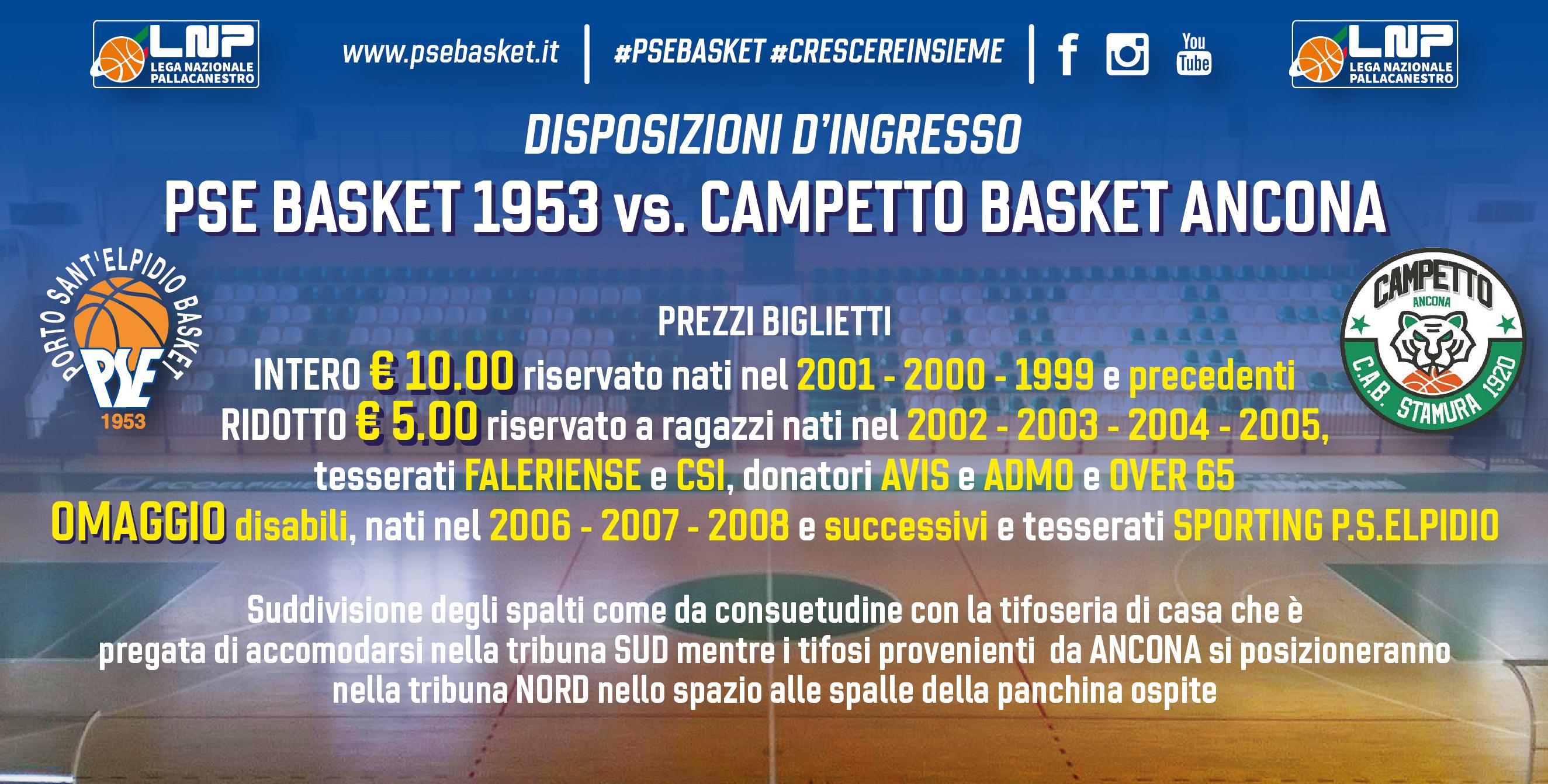 Derby P.S.Elpidio-Ancona, le disposizioni di accesso al Palas