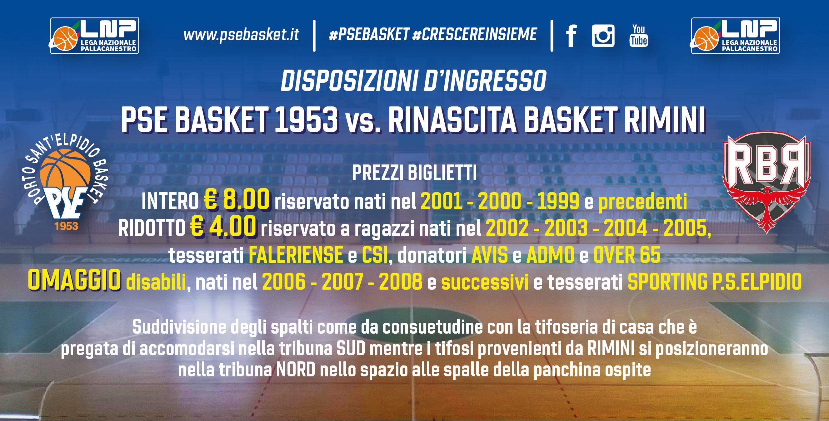 P.S.Elpidio Basket - Rimini, le disposizioni di accesso al Palas.